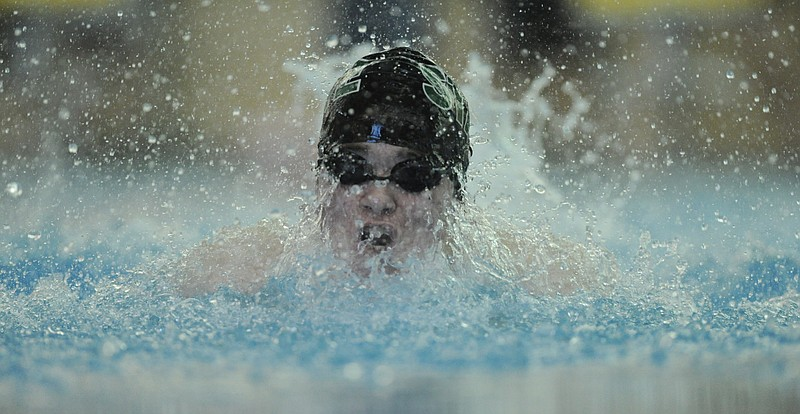 Free State's Nolan Frank takes a breath during the Free State Invitational on Thursday