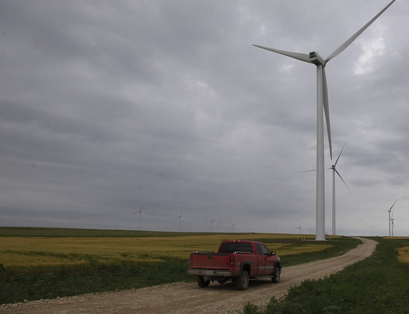 Meridian Way Wind Farm's 67 turbines are spread out over some 20,000 acres of farmland. Among the benefactors are 65 landowners who lease the land to wind farm owner Horizon Wind Energy.