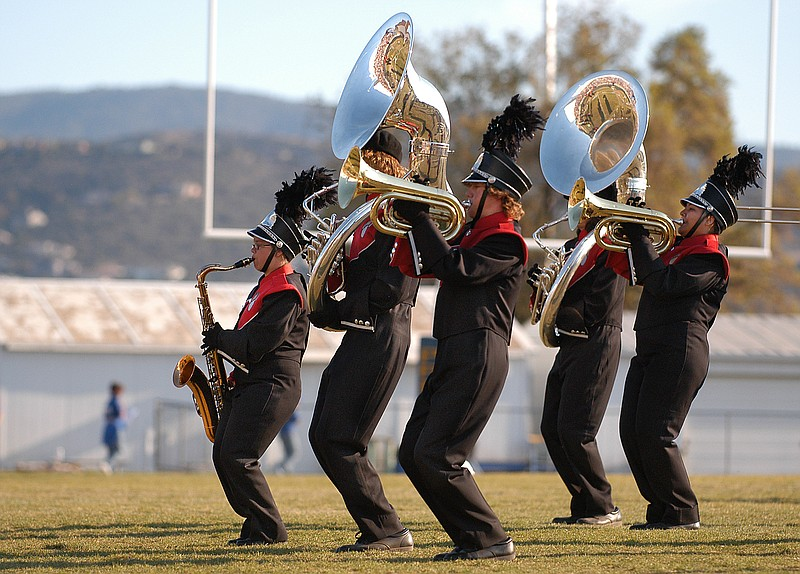 Members of the Bradshaw Mountain High School Marching Band perform Oct. 20 during the 10th Annual Mile High Marching Band Festival at Prescott High School. More than 1,000 musicians from 16 high schools from across the state participated.
